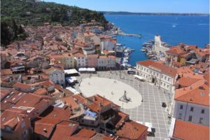 Piran's courtyard from the tower. - Photo: (c) 2017 - Aaron Sweet of My Sweet Adventures