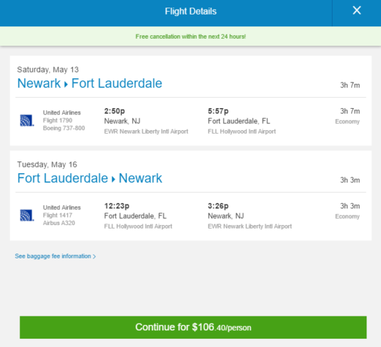 United – $106: Newark – Fort Lauderdale