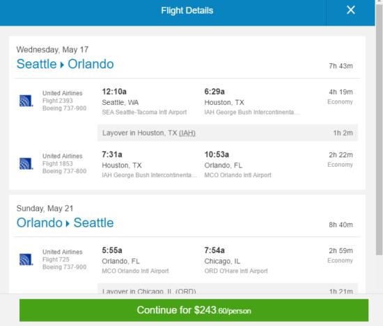 United – $244: Seattle – Orlando (and