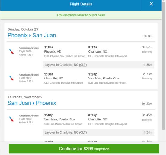 American – $396: Phoenix – San Juan
