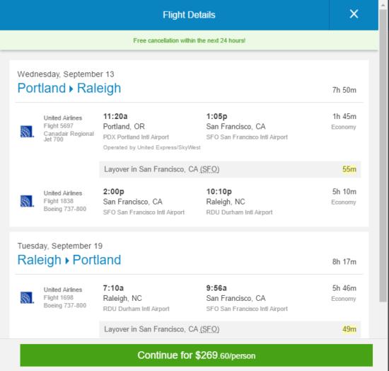 United – $270: Portland – Raleigh