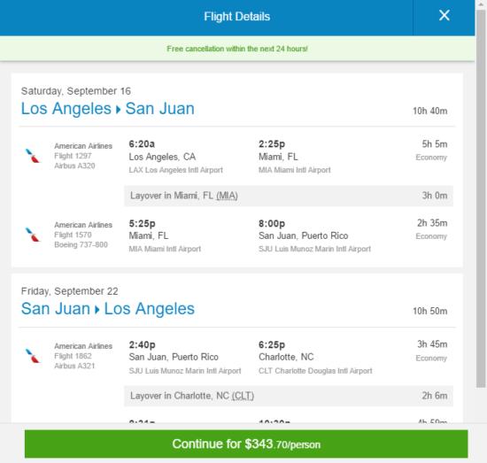 The Flight Deal American 344 Los Angeles San Juan