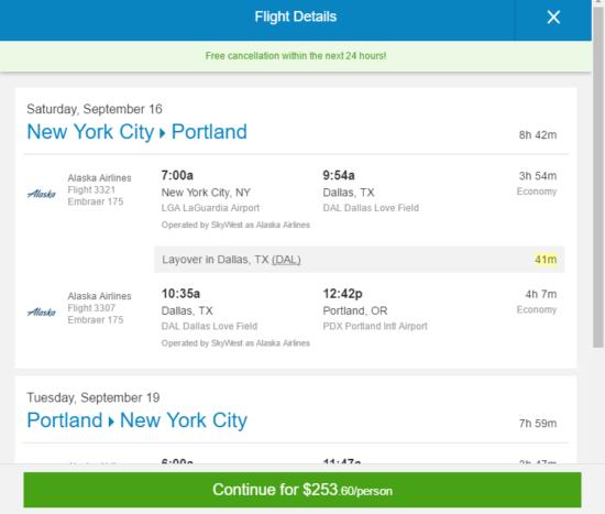 Alaska Air – $254: New York – Portland