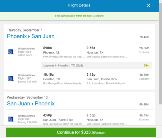 United – $333: Phoenix – San Juan