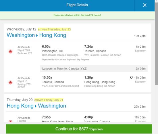 [Summer] Air Canada – $577: Washington D