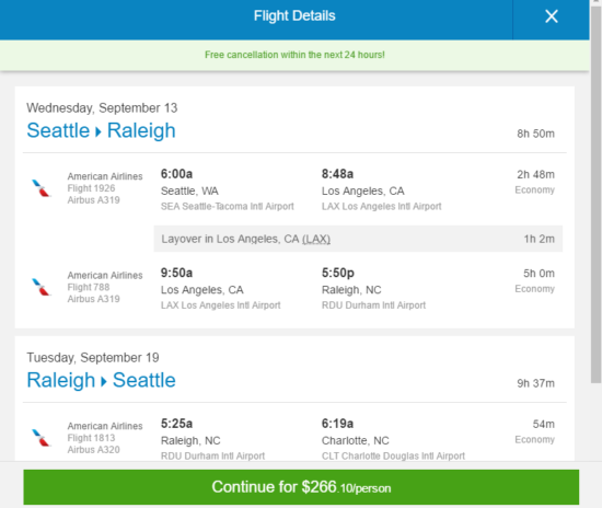 American – $266: Seattle – Raleigh