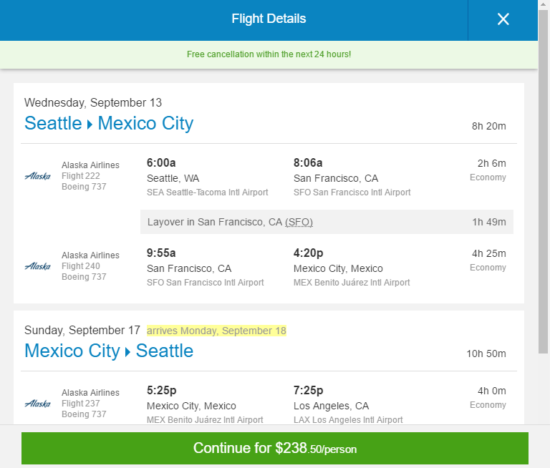 The Flight Deal Alaska Air 239 Seattle Mexico City