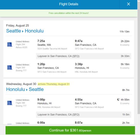 United 362 Seattle Portland Honolulu Hawaii And