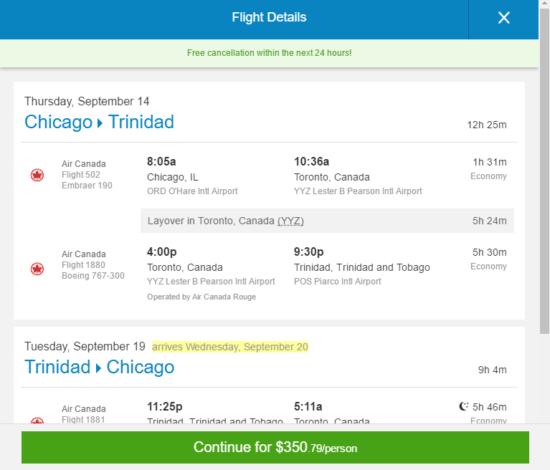 Air Canada – $351: Chicago / Boston