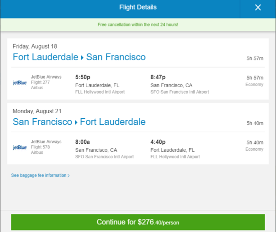 [Summer] JetBlue – $276: Fort Lauderdale