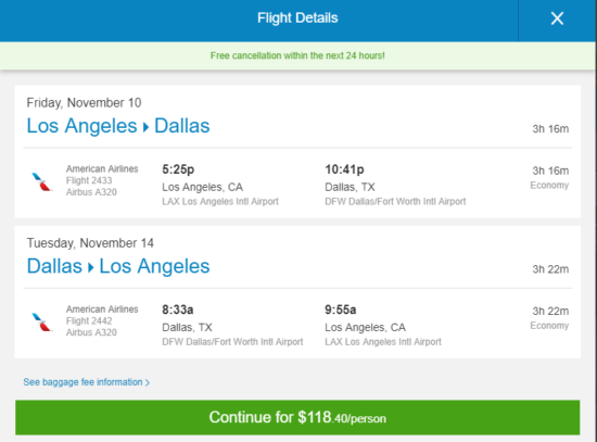 The Flight Deal American 118 Los Angeles Dallas