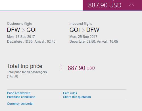 Qatar Airways 888 Dallas Goa India Roundtrip