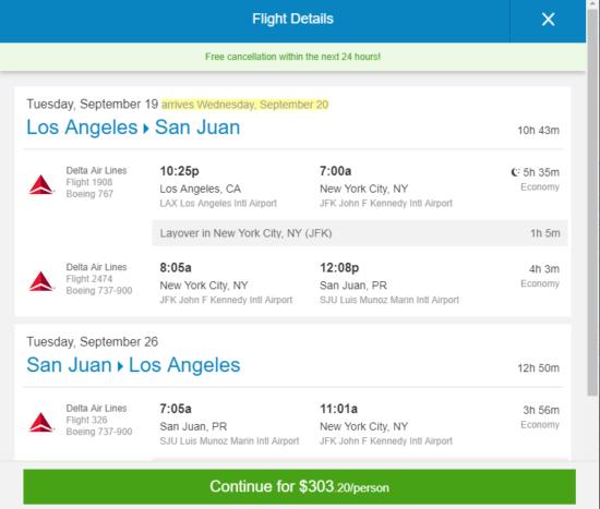The Flight Deal Delta 303 Los Angeles San Juan