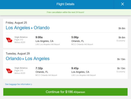 Virgin America Jetblue 186 Los Angeles Orlando And Vice Versa