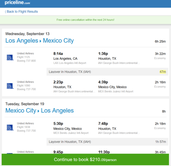 The Flight Deal United 210 Los Angeles Mexico City