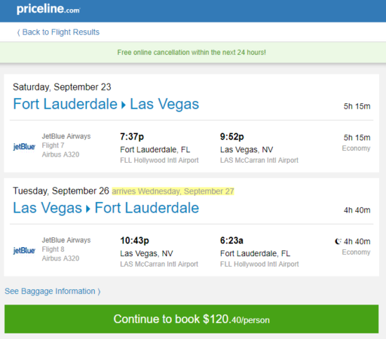 JetBlue – $120: Fort Lauderdale – Las