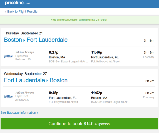 JetBlue – $146: Boston – Fort Lauderdale