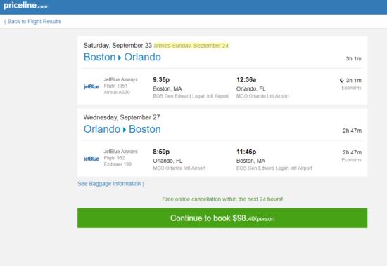 Jetblue 98 Boston Orlando And Vice Versa
