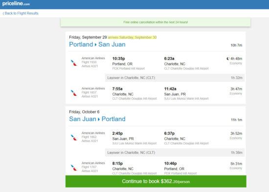 The Flight Deal American 362 Portland San Juan
