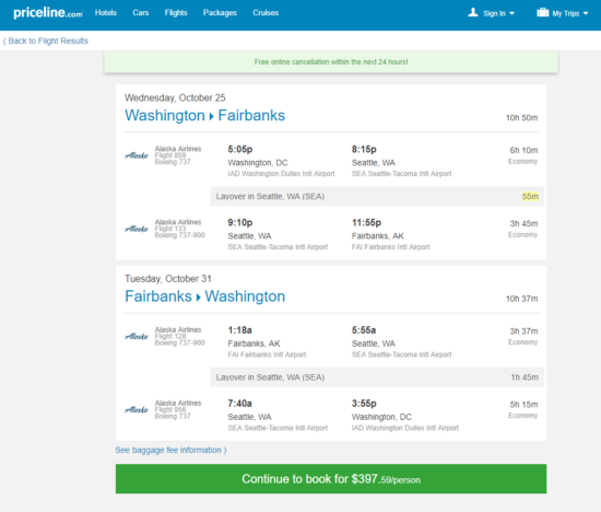 The Flight Deal Alaska Air 398 Washington D C