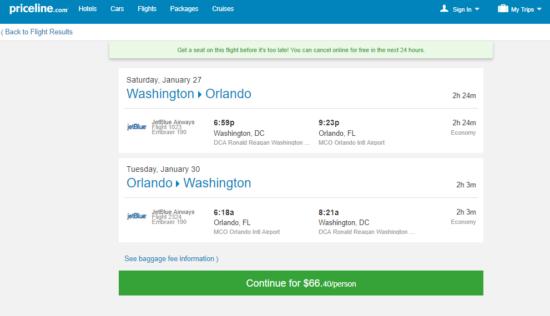 Jetblue 66 Washington D C Orlando And Vice Versa