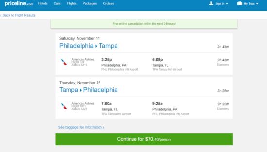 The Flight Deal American 70 Philadelphia Tampa