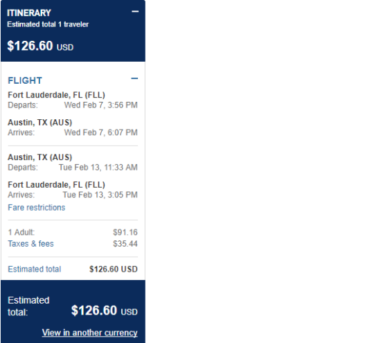 JetBlue – $127: Fort Lauderdale – Austin