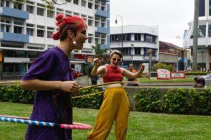 Hula hooping in Parque Morazán. - Photo: (c) 2018 - Caitlin of Circumnavicait