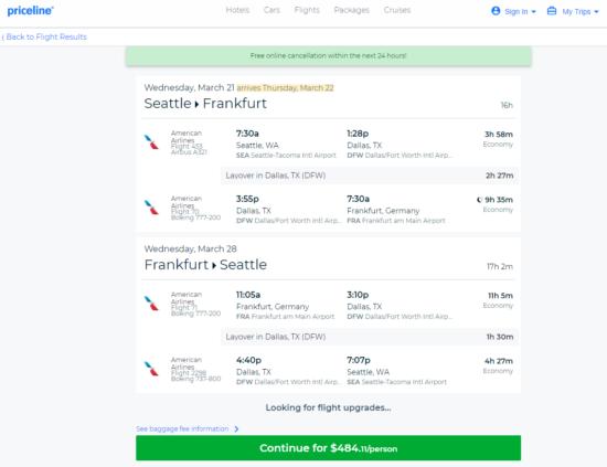 The Flight Deal American 484 Seattle Frankfurt