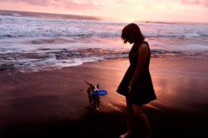 Walking along Playa Hermosa as the sun set. - Photo: (c) 2018 - Caitlin of Circumnavi-Cait