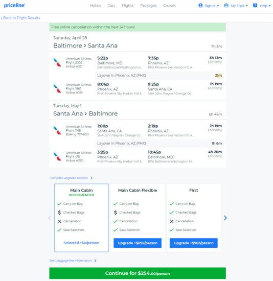 The Flight Deal American United 254 Baltimore