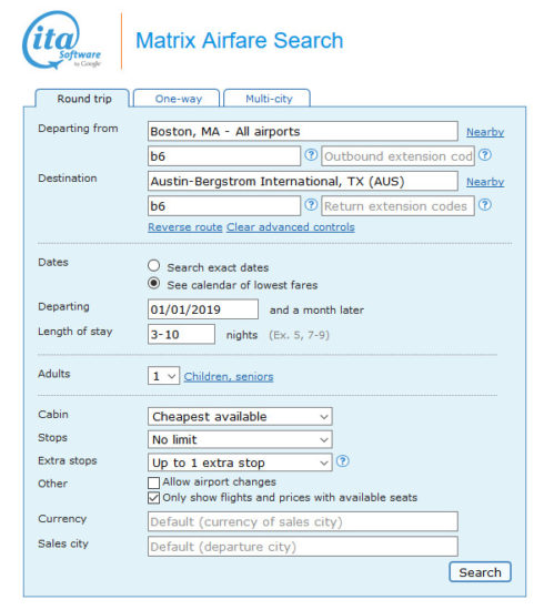The ITA Search Page Should Be Like Below When All Values Are Inputted