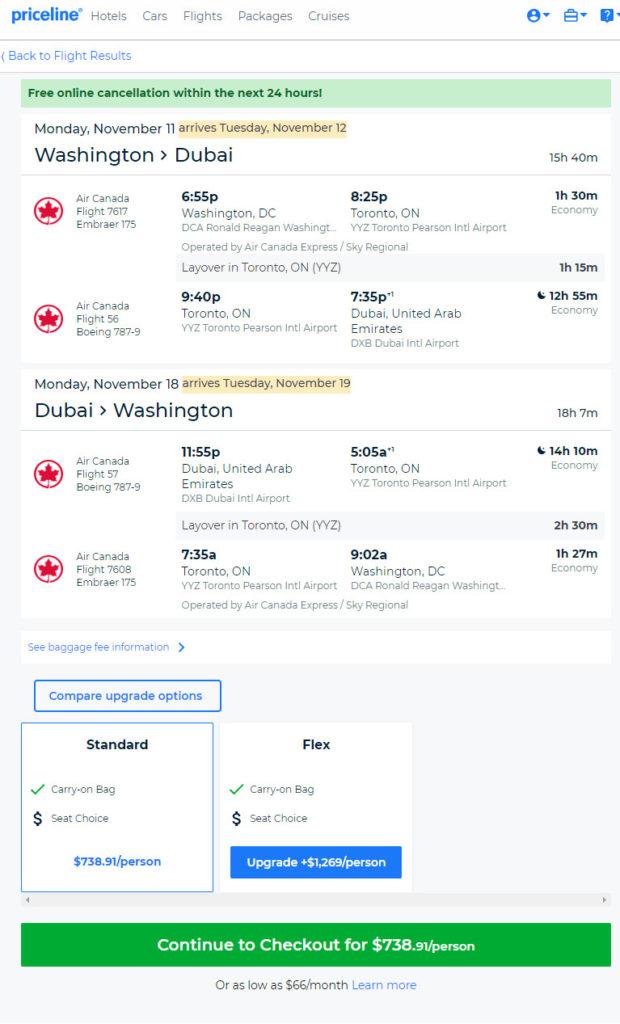 The Flight Deal | Air Canada – $739: Washington D C  – Dubai