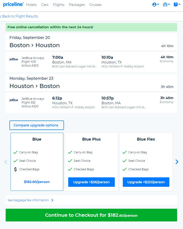 JetBlue – $183: Boston – Houston (and