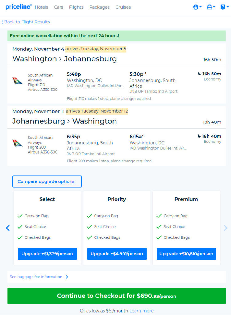 The Flight Deal | South African – $691: Washington D C
