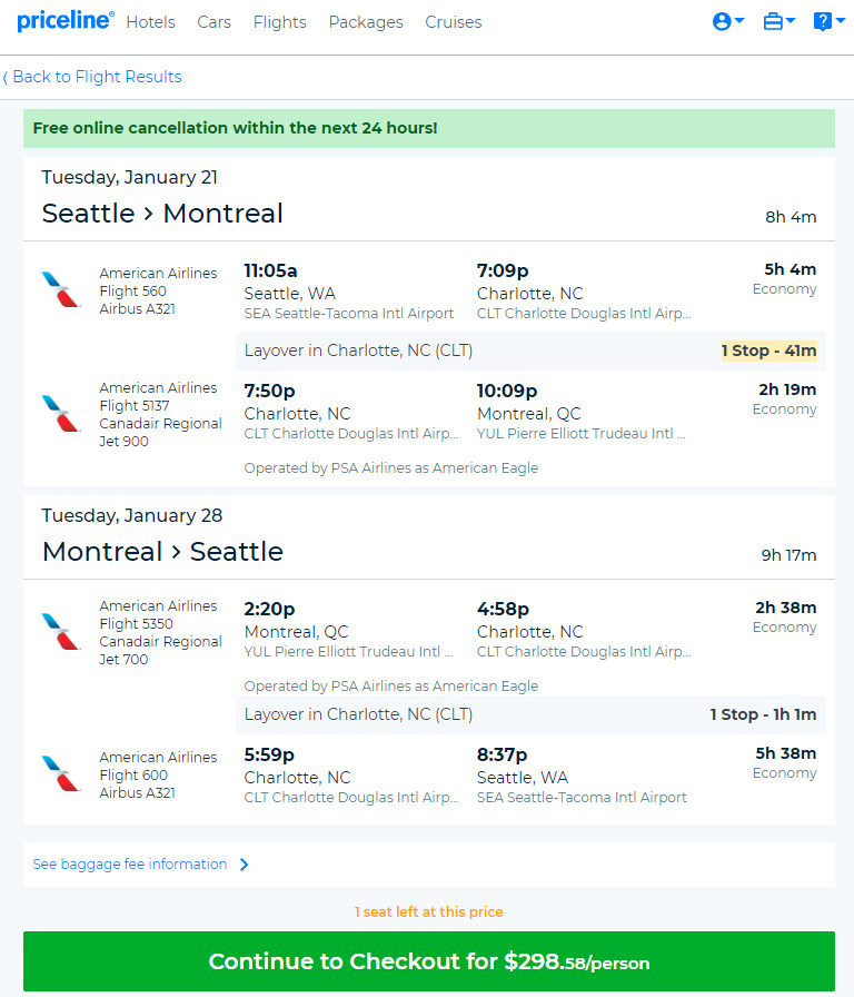 The Flight Deal American 299 Seattle Montreal