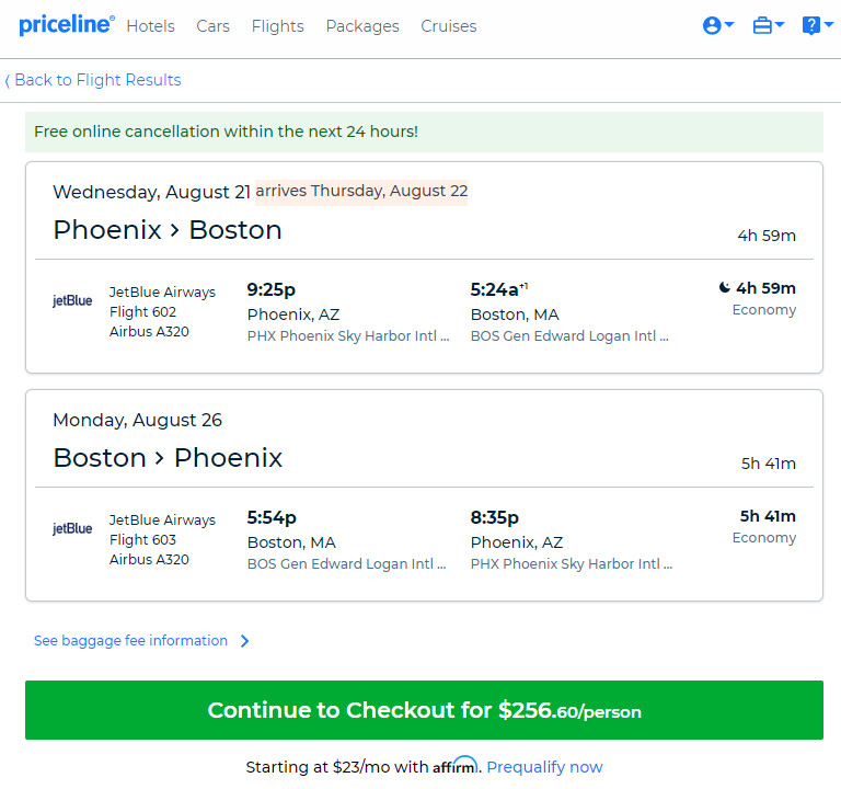 JetBlue – $257: Phoenix – Boston (and