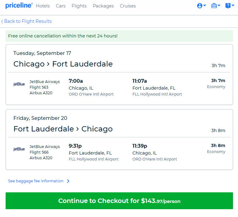 JetBlue – $144: Chicago – Fort