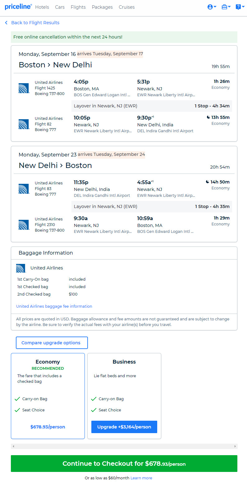 United 679 Boston New Delhi India Roundtrip