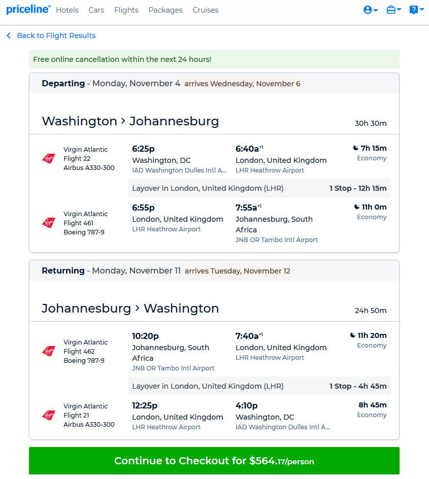 The Flight Deal | Virgin Atlantic – $564: Washington D C