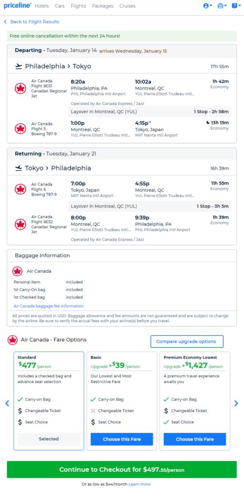 Air Canada Philadelphia Tokyo Japan 498 Roundtrip